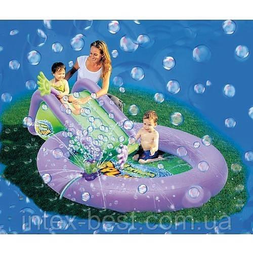 Детский надувной бассейн с горкой и мыльными пузырями Bestway 52148 (244х165х61 см.)