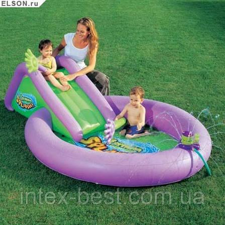 Детский надувной бассейн с горкой и мыльными пузырями Bestway 52148 (244х165х61 см.), фото 2