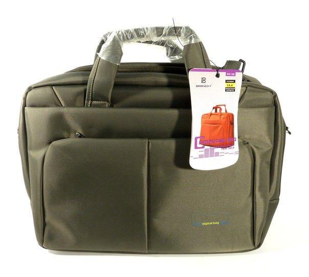 Сумка-портфель для ноутбука компьютера текстильная серая Brinch 1333-2010