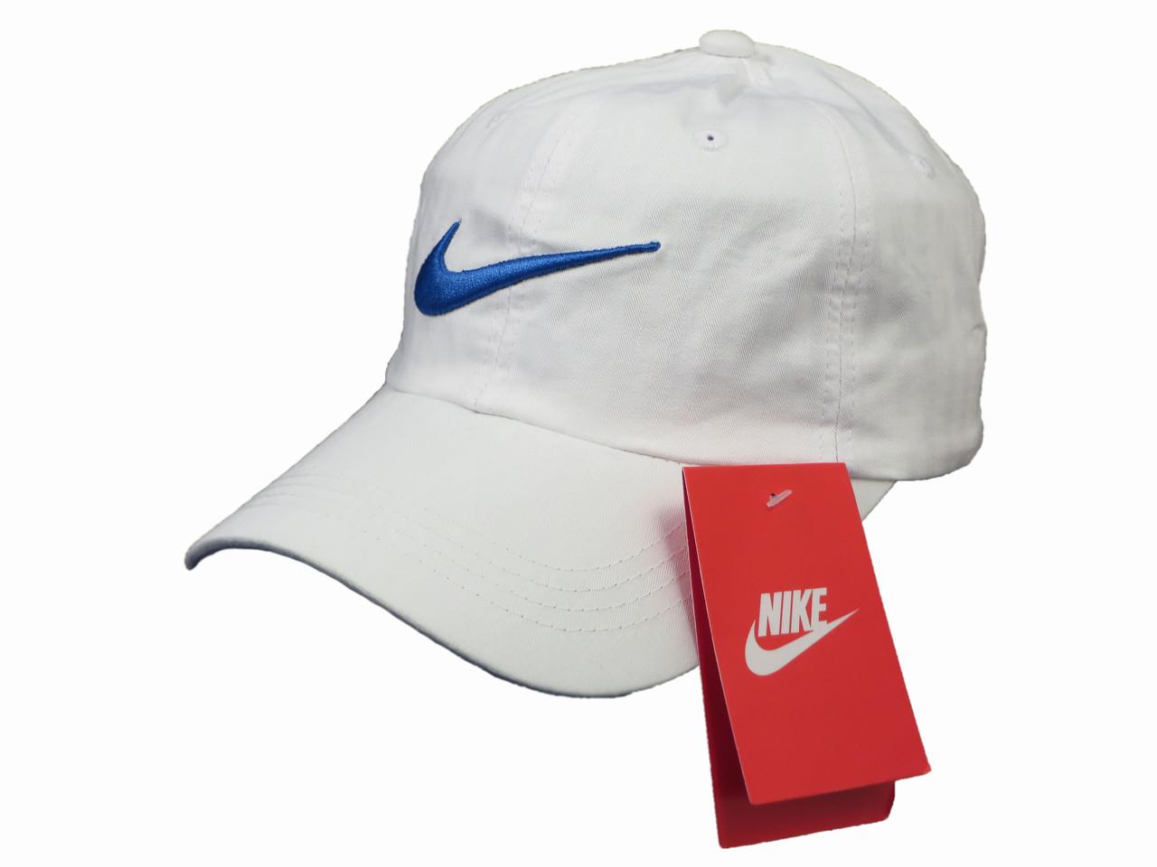Белая бейсболка Nike с синим логотипом (реплика)
