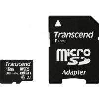 Карта памяти Transcend Micro SDHC Ultimate 16Gb class 10 UHS-I +SD adapter
