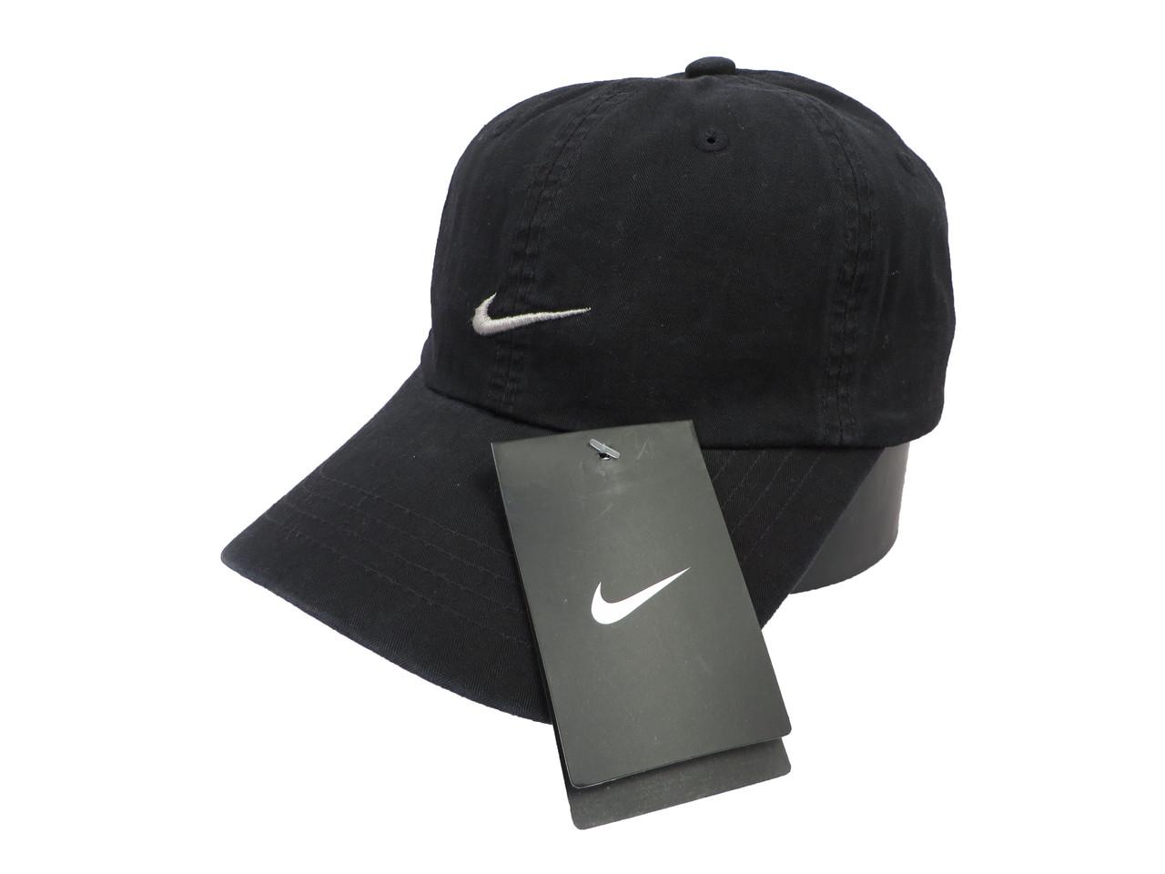 Черная бейсболка Nike с серым логотипом (реплика)