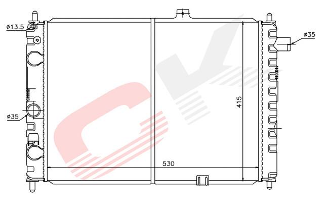 Радиатор охлаждения Opel Ascona C (1.3-1.8) 530*415мм по сотах KEMP
