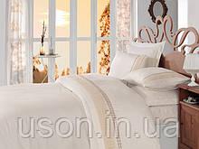 Комплект постельного белья сатин c вышивкой  COTTON BOX Gold ecru