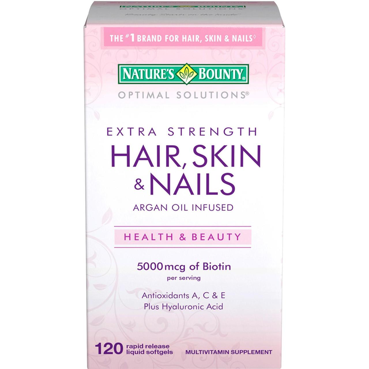 Витамины для волос, ногтей и кожи Nature's Bounty, 120 капсул. Сделано в США.