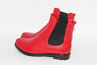 Женские ботинки челси из натуральной кожи красного цвета, фото 1