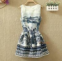 Платье женское жаккардовое с городским пейзажем