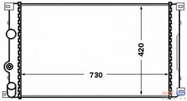 Радиатор охлаждения Opel Movano 2000- (1.9-2.2 DTI механика АС-) 730*420мм по сотах KEMP