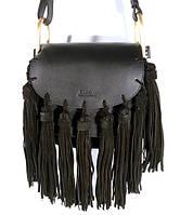 Брендовая кожаная сумочка Chloé 1216 через плечо, черная с замшевой бахромой