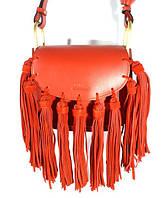 Брендовая кожаная сумочка Chloé 1216 через плечо, красная с замшевой бахромой