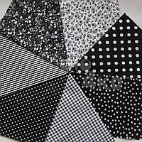Ткань для пэчворка, кукл тильда 50*50 см черно-белый набор 7 отрезов