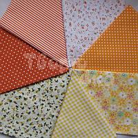 Ткань для пэчворка, кукл тильда 50*50 см желто-оранжевый набор 7 отрезов