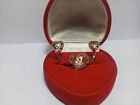 Кільце серце позолота з цирконієм G19 вироби з ювелірного сплаву
