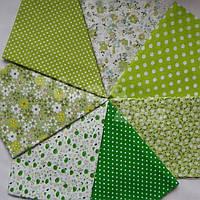 Ткань для пэчворка, кукл тильда 50*50 см зеленый набор 7 отрезов