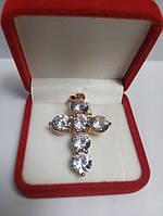 Кулон хрест позолота з шістьма кристалами цирконію G30 модні ювелірні вироби