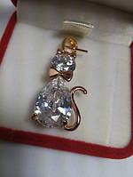 Модный позолоченный кулон кристальная кошка фианит G32 элитная бижутерия, фото 1
