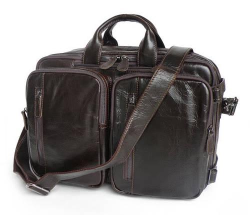 Стильная кожаная сумка Jasper & Maine 7014Q-2 темно-коричневая