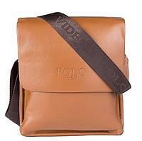 Стильная брендовая мужская кожаная сумка Polo Videng