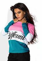 Кофта женская Different голубая с розовым , свитера женские