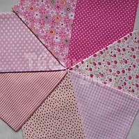 Ткань для пэчворка, кукл тильда 50*50 см розовый набор 7 отрезов