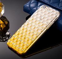 Золотой силиконовый чехол с камнями Сваровски для Iphone 6, фото 1