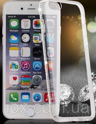 Силиконовый прозрачный чехол с камнями Сваровски для Iphone 6+