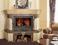 Камин мраморный PORTOFINO угловой с деревянной балкой