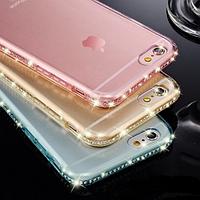 Силиконовый золотой чехол с камнями Сваровски для Iphone 5/5S