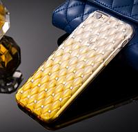 Силиконовый золотой чехол с россыпью камней Сваровски для Iphone 5/5S