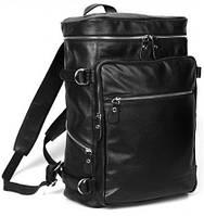 Модный черный кожаный рюкзак  TIDING BAG t3035