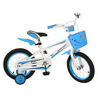 """Детский велосипед 14"""" для девочек и мальчиков, унисекс, с корзиной и крыльями,  страховочные колеса (голубой)"""