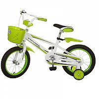 """Детский велосипед 14"""" для девочек и мальчиков, унисекс, с корзиной и крыльями,  страховочные колеса ( зеленый)"""