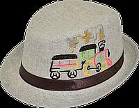 Шляпа детская челентанка вышивка паровоз канва