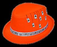 Шляпа детская челентанка нашивка паук на оранжевом