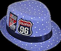 Шляпа детская челентанка шеврон звезды голубые