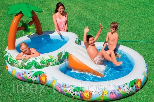 Детский надувной игровой центр Райский уголок Intex 57467 (295х181х125 см.)