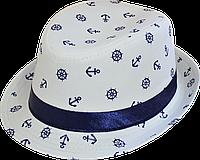 Шляпа детская челентанка джинс морячок