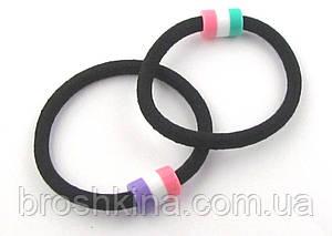 Резинка-жгут черная с цветным пластиковым креплением