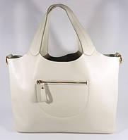 Кожаная женская сумка, саквояж 2 в 1 с клатчем Voee Vodd 60867 белая