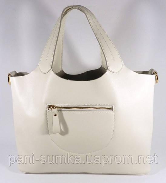 """Кожаная женская сумка, саквояж 2 в 1 с клатчем Voee Vodd 60867 белая - Интернет магазин """"Pani Sumka"""" в Одесской области"""