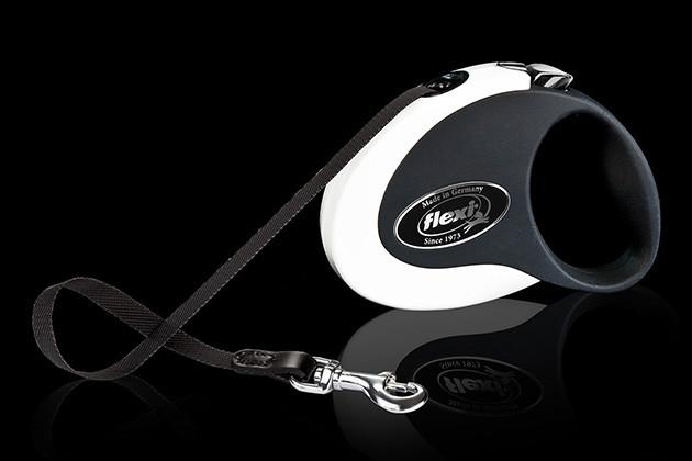 Рулетка Flexi Collection ременной поводок длиной 3 м для собак весом до 12 кг бело/черный