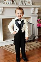 Нарядный костюм для мальчика с фраком молочно-черный