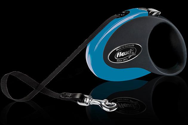 Рулетка Flexi Collection ременной поводок длиной 5 м до 25кг синий/черный