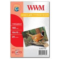 Фотобумага WWM глянцевая 180г/м кв , 10см x 15см , 20л (G180.F20)