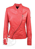 Красная кожаная куртка косуха (размер S), фото 1