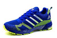 Кроссовки мужские Adidas Marathon TR 15, текстиль, синие с салатовым, фото 1
