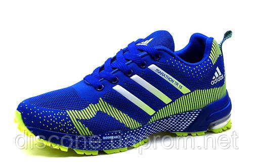 Кроссовки мужские Adidas Marathon TR 15, текстиль, синие с салатовым