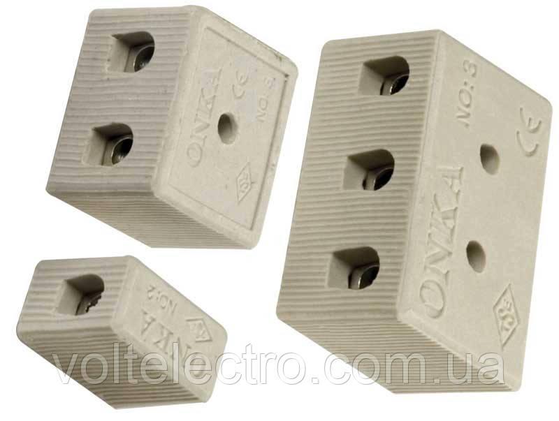 Колодки керамические0,75-1,5 мм2  2-полюс. ONKA