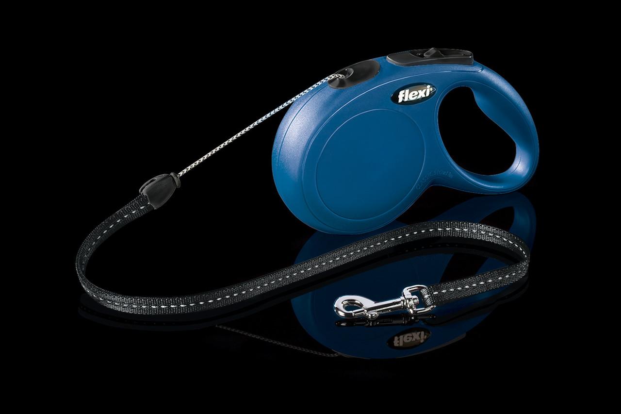 Рулетка Flexi NEW Classic тросовый поводок длиной 8 м для собак весом до 12 кг синий