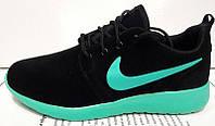 Кроссовки женские Nike Roshe Run черные с бирюзой NI0062